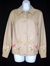 Coldwater Creek Tan Floral Jacket XS Embroidered Appliques