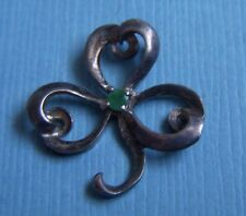 Vintage clover with green stone sterling charm