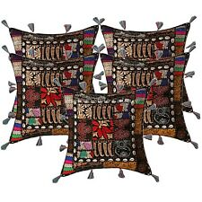 Indian Cotton Bohemian Cowrie Embroidered 17x17 Patchwork Throw Pillow Covers