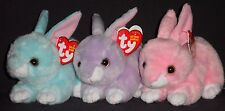 "TY JUMPER, DASH & WALKER the 6"" EASTER BUNNY RABBIT BEANIE BABY SET - MINT TAGS"