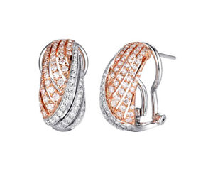2.03ct NATURAL ROUND DIAMOND 14K SOLID WHITE ROSE GOLD OMEGA BACK HOOPS EARRING