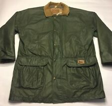 Vintage Woolrich Mens Size Large Army Green Nylon Trench Coat Raincoat