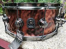 "NOS Natal Hand-hammered 14x6.5"" Steel Snare Old Bronze Finish Brushed Nickel HW"