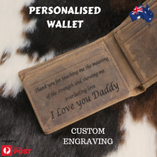 Personalised Gift Leather Wallet Custom Message Men Engraving Wallet gift AU
