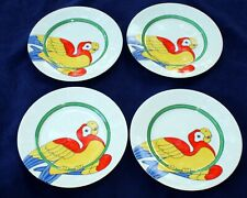 "Fitz & Floyd Mcmlxxix Set of 4 ""Parrot-in-ring"" ; Never Used Salad Dessert Plates"
