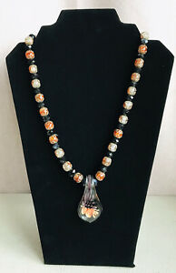 Vintage Crackle Glass Filigree Jet Glass Faceted Murano Pendant Bead Necklace