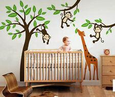 Large Wall Decal Animal Friends Swinging Monkeys and Giraffe for Nursery Room