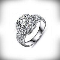 Très belle bague en plaqué or blanc, diamants cz transparent, bijoux Joaillerie