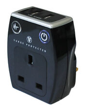 Masterplug Plug In Surge Protected Mains Socket with 2 USB Port Chargers