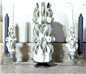 White and Silver Unity Candles With Hearts and Silver Stand (2 Extra Holders)