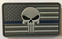 Blue Line Punisher US American Flag PVC Patch Hook&Loop  (SWAT SEAL SF PMO) 810