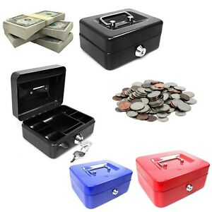 4'' Blue Black Red Cash Deposit Box Metal Security Money Bank With Tray & 2 Keys