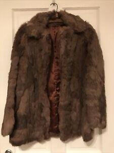 Ladies Vintage Real Korea Rabbit Brown Fur Jacket Size 16