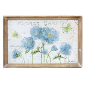 Handmade Shabby Chic Floral Canvas Print with Botanical Design and Wooden Frame