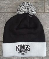 Mitchell and Ness Los Angeles Kings Pom Beanie Headwear Knit Hat NHL Grey/Black