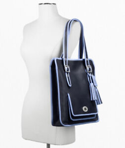 NWT COACH Legacy Leather Navy Blue Laptop Magazine Tote Shoulder Bag NEW