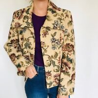 90s Wallis Vintage tapestry tailored blazer floral Jacket Textured Medium 10-12