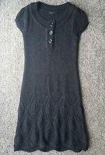 BCBG MAX AZRIA Dark Brown Alpaca Blend Sweater Dress Tunic Size S Short Sleeve