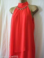 NEW £45 *** SALE *** JANE NORMAN, SIZE 8, RED EMBELLISHED NECK LAYERED DRESS