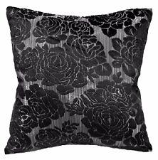 *Limit Stock*Mq05a Silver Metallic Rose Black Velvet Cushion Cover/Pillow Case