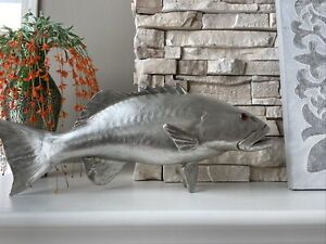 Coral Trout Fish Wall Sculpture Resin Silver Leaf Phillips Collectio ~New in Box
