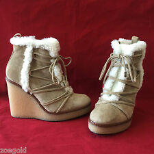 "NEW MONCLER ""OSJA"" TAN SHEARLING LACE-UP ZIPPER WEDGE BOOTIES BOOTS 37 $740"