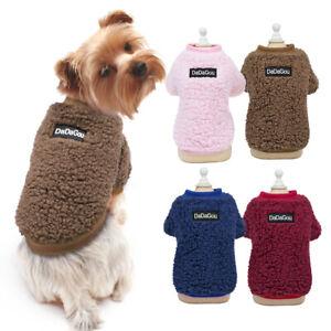 Soft Warm Fleece Pet Cat Dog Jumpers Vest Clothes Puppy Sweaters Coat Yorkie Pug