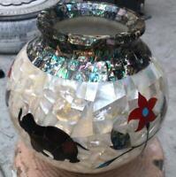 "10"" Marble Vase Inlay Matka Pietra Dura Flower Pot Inlay Malachite Home Decor"