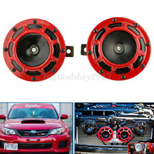 Pair Red Grille Mount Electric Loud Super Tone 12V Horn For Car/Truck/Motorcycle
