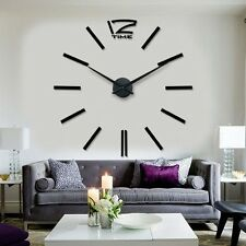 3d big size home decor quartz diy living room metal Acrylic mirror wall clock