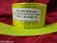 20' SEW ON REFLECTIVE SAFETY YELLOW GREEN SAFETY TAPE.  USA shipper, FREE SHPG