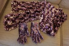 Shiny Sparkly Soft Purple Scarf & Glove set Great Condition