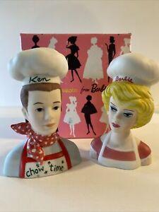 1994 Rare Barbie & Ken Chef Enesco Salt/Pepper Shaker Set  #113921 Vintage New