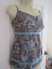 Ladies size 8 Next cami strappy blue chocolate floral summer sleeveless top