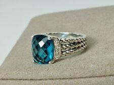 David YurmanPetite Wheaton 8x10mm Hampton Blue Topaz Diamonds Ring 5.5 - silver