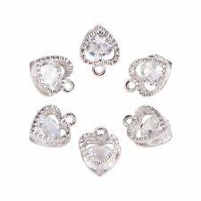 100pcs Heart Alloy Charm Cubic Zirconia Platinum Finding Pendant Chain Necklace