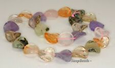 16MM  MIX QUARTZ GEMSTONE TWIST ROUND LOOSE BEADS 7.5""