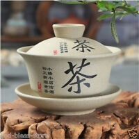 Pottery gaiwan floral mountain-river tureen Chinese tea cup bowl lid saucer cups