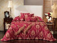 Bianca Bernadette Burgundy Bedspread Set in All Sizes