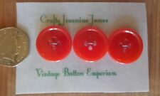 3 Red Vintage 24mm Coat Cardigan 4 hole Plastic Sewing Buttons Crafts