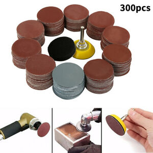 300PCS Sanding Discs Pad For Drill Grinder Rotary Tools + Backing Pad 2inch 50mm