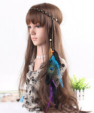 Boho Indian Peacock Black Feather Leaf& gold leaf Hairdress Weave Headpieces