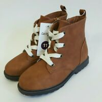 New! Cat & Jack Toddlers Girls Cherish Lace Up Boots Cognac Size 11, 12