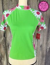 NWT LANDS END Size L 14 Kids Bathing Suit Rash Guard Top Lime Green Pink Daisies
