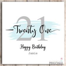 Personalised 21st Birthday Card Handmade Son Brother Nephew Grandson Godson Blue