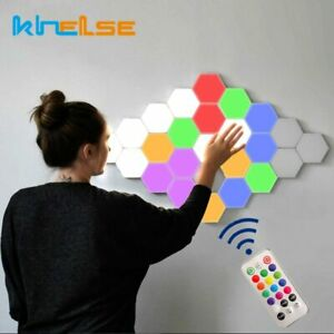 Quantum Hexagon Led Wall Lamp Modular Honeycomb Remote Control Lamp Bedroom