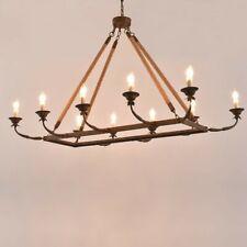 "10-Light Rectangular Chandelier 48"" Linear Chandelier Hemp Rope Island Lighting"