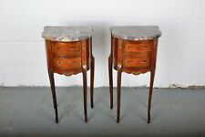 1900's Pair of French Louis XV Mahogany Inlay Marquetry Nightstands W/ Marble To