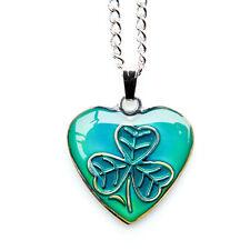 Celtic Irish Shamrock Heart Shape Mood Colour Changing Necklace