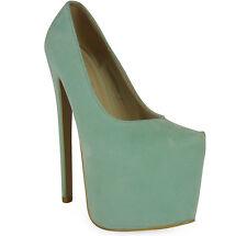 New Womens Ladies Black Platform 7 Inch High Stiletto Heel Pumps Court Shoes Siz